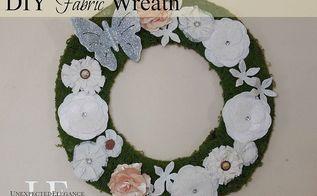 diy fabric flower wreath, crafts, flowers, wreaths