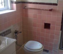 q pink bathroom in rented apartment what to do, bathroom ideas, home decor, tiling, It s a dried grout party in my bathroom all over the walls