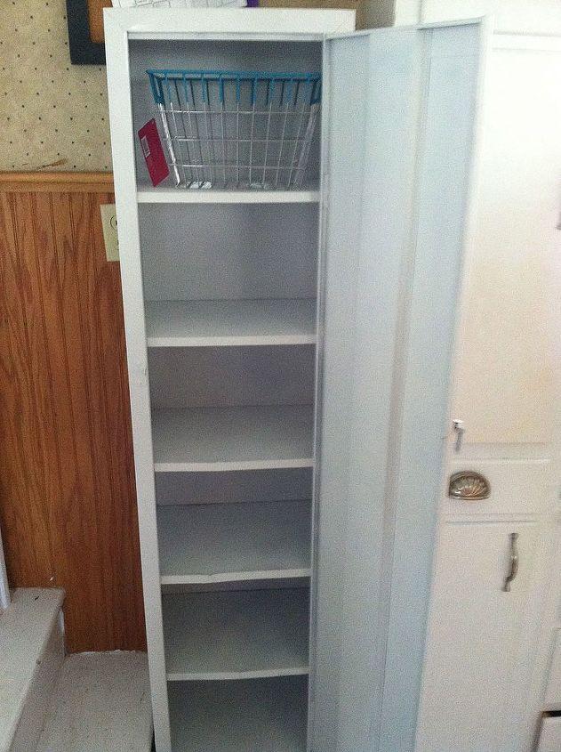 old metal cabinet turned into pantry, painted furniture, I got the metal  egg basket - Old Metal Cabinet Turned Into Pantry Hometalk