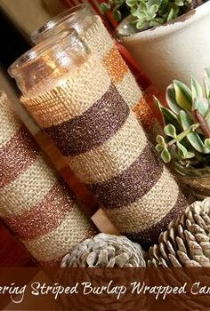 glittering striped burlap candle wraps, crafts, decoupage, seasonal holiday decor, These burlap beauties are a great addition to your Fall decor or change up the glitter colors for any holiday