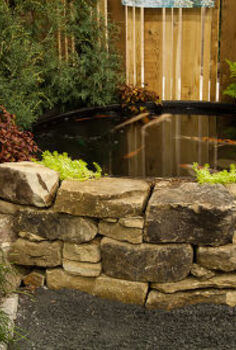 photos of our garden at the southeastern flower show, flowers, gardening, outdoor living, Detail of the fieldstone wall and the koi tank