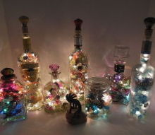 up cycled glass bottle lights, lighting, repurposing upcycling, The aurora illuminates with a warm glow