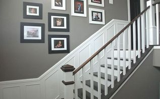 remodeled foyer step by step, diy, foyer, home decor, home improvement, stairs, Step 7 Add picture frame moulding