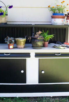 buffet turned potting bench, gardening, painted furniture, repurposing upcycling
