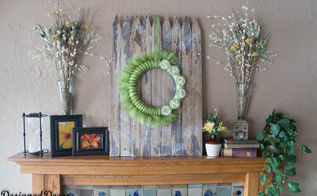 using an old picket fence with the spring decorations, fireplaces mantels, home decor, repurposing upcycling
