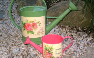 decoupaged watering cans, crafts, decoupage, Decoupaged Watering Cans