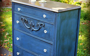 napoleonic blue dresser makeover, chalk paint, painted furniture, Napoleonic Blue Chalk Paint topped in clear and dark wax
