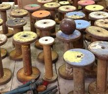 q ideas on different things i can do with these yummy old spools, crafts, repurposing upcycling, Love the color of these spools I sat out all these spools and took a picture of them before I packed them up