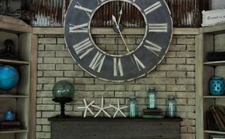 repurposed using an old barn tin roof and barn wood for a fireplace makeover, fireplaces mantels, home decor, mason jars, repurposing upcycling, Fireplace makeover by Bella Tucker Decorative Finishes using an old rusty tin roof and a barn wood mantle