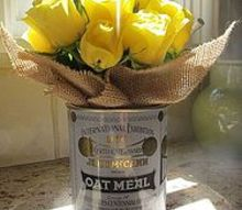 oatmeal tin burlap vase, crafts, tin burlap vase
