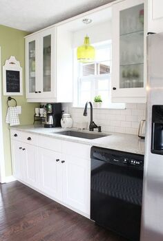 my cottagey ikea kitchen, home decor, kitchen design, kitchen island, shelving ideas, Adel white Shaker cabinets from Ikea with creamy white subway tile and gray grout