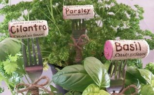 fork and cork plant markers, crafts, gardening