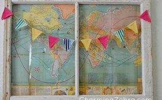 vintage map window, crafts, repurposing upcycling, Vintage Map Window