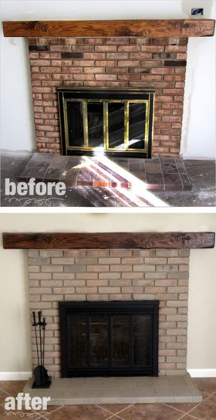 Fireplace remodel paint stain hometalk for Diy fireplace remodel ideas