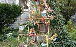 vintage recycled bird feeder, gardening, painted furniture, repurposing upcycling, Garden trellises turned into bird feeding station
