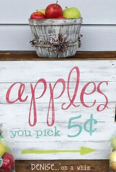 pick your own apples a sign from pallet wood, crafts, pallet, seasonal holiday decor, woodworking projects