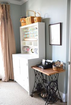 my new craft area with martha stewart craft furniture, craft rooms, The wrapping station