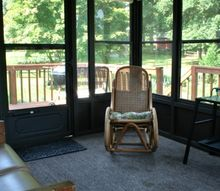 a sun room of thrifted furniture, outdoor furniture, outdoor living, painted furniture, repurposing upcycling, Walking into the room from the house you see the love seat to the left and the rocking chair in the corner
