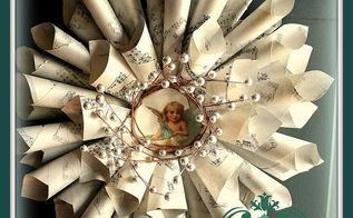 make a sheet music wreath using free graphics from the graphics fairy, crafts, wreaths, all glued and ready to hang