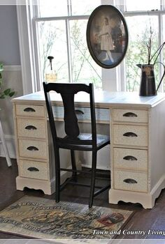 decoupage desk project, chalk paint, painted furniture