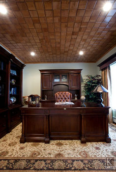 home office, home decor, home office, woodworking projects, The wood ceiling design adds another layer of interest and detail to this home office Silk draperies and floral rug design soften the look