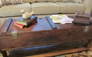 have you ever wondered what to do with an old box crate, painted furniture, pallet, repurposing upcycling, rustic furniture, voila chic rustic coffee table