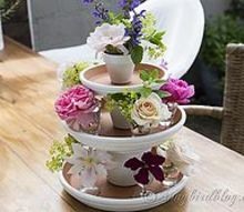 turn you leftover terracotta pots into a centerpiece for your table, crafts, home decor, repurposing upcycling, Terracotta pots and saucers painted and stacked