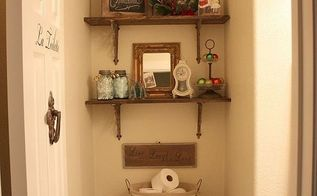 half bath makeover, bathroom ideas, home decor, DIY shelving
