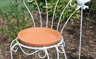 salvaged chair bird bath, gardening, home decor, outdoor living, repurposing upcycling