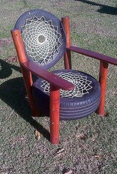 recycled tyre chair rocky road backpackers south africa, painted furniture, repurposing upcycling, Recycled tyre chair Rocky Road Backpackers South Africa