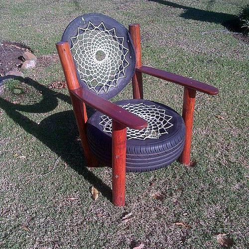 recycled tyre chair rocky road backpackers south