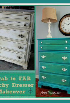 drab to fab beachy dresser makeover, painted furniture, Look at the difference a little paint can make