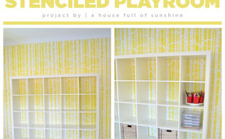 a bright cheery stenciled playroom, entertainment rec rooms, home decor, painting