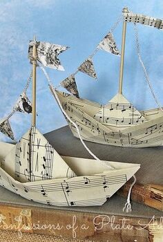 summery sheet music sailboats, crafts, Summery fun with a vintage touch