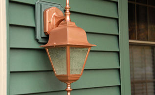 more thrifty exterior light makeovers, curb appeal, painting, Here s a closeup look at the copper finish