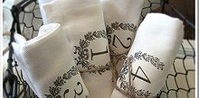 easy and inexpensive handmade gift ideas, seasonal holiday d cor, Inexpensive cloth napkins become French farmhouse numbered napkins with just an iron n transfer graphic included here