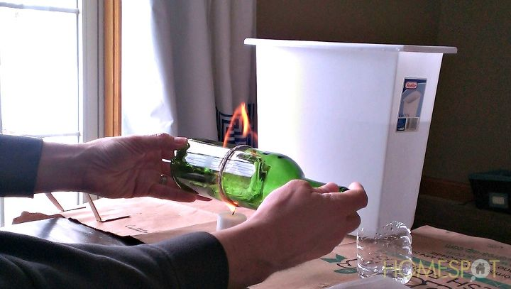 How to cut a glass bottle in half with yarn and fire for How to cut glass with fire