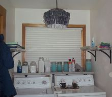 laundry room makeover under 450 with recycled shelves cabinets more, cleaning tips, laundry rooms, repurposing upcycling, shelving ideas, New DIY light fixture