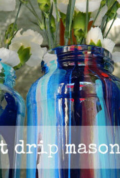 anthropologie inspired paint drip mason jars, crafts, mason jars, repurposing upcycling, Paint Drip Mason Jars
