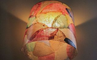 colorful lamp shade made with recycled coffee filters, craft rooms, home decor, repurposing upcycling