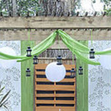 transforming an existing arbor, outdoor living, The full view of lanterns and cloth