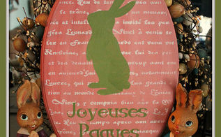 french easter art using americana decor chalky finish paint, easter decorations, home decor, seasonal holiday decor, my finished Joyeuses Paques HAPPY EASTER art wallupdates