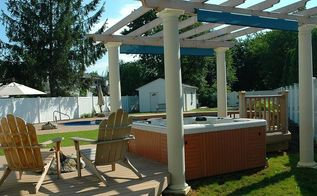 can you imagine relaxing in your hot tub gazing up through the pergola at the stars, decks, outdoor living, pool designs, spas, Hot Tub with multilevel Trex deck pergola and fire pit Built in 2005