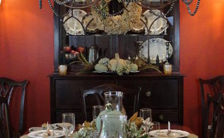 thanksgiving tablescape, living room ideas, seasonal holiday decor, thanksgiving decorations, wreaths, Nature inspired Thanksgiving Tablescape