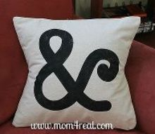 make and stencil a pillow using freezer paper, crafts, Freezer paper stenciled Ampersand Pillow