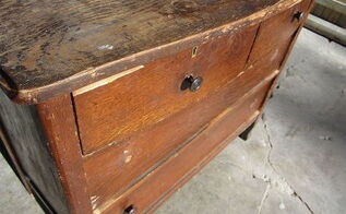 how to remove wood veneer from furniture dresser makeover, painted furniture, woodworking projects, This was the dresser before its makeover