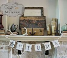fall mantle and autumn bunting, seasonal holiday decor