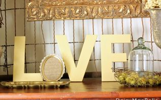gold and burlap love letters, crafts, seasonal holiday decor, I painted the letters and added burlap to the frame for the O
