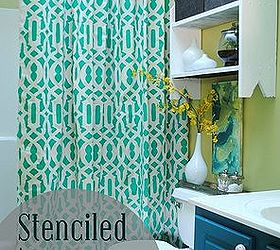 Stenciled Shower Curtain Using Drop Cloth, Crafts, ...