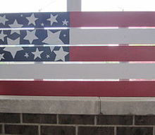 repurposed old fence into art, crafts, Red White and Blue